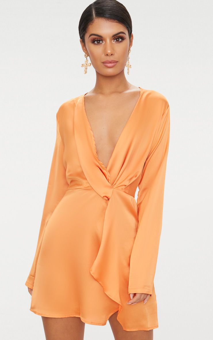 Tangerine Satin Long Sleeve Wrap Dress