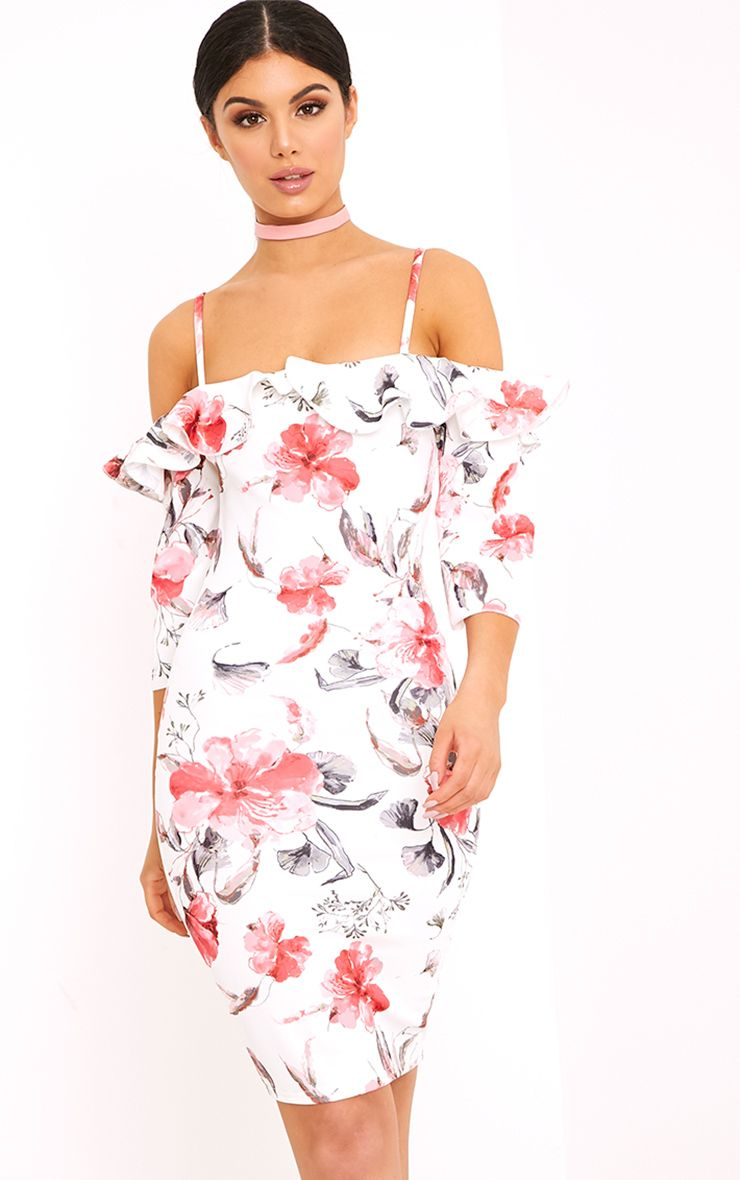 White Floral Cold Shoulder Bodycon Dress