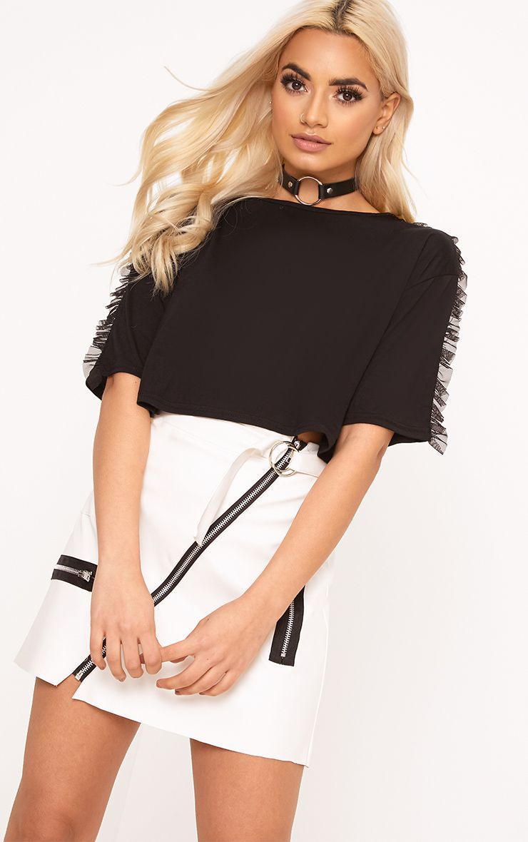 Black Mesh Tulle Frill T Shirt