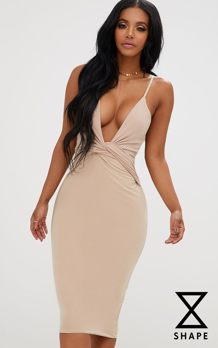 Shape Nude Knot Front Plunge Midi Dress