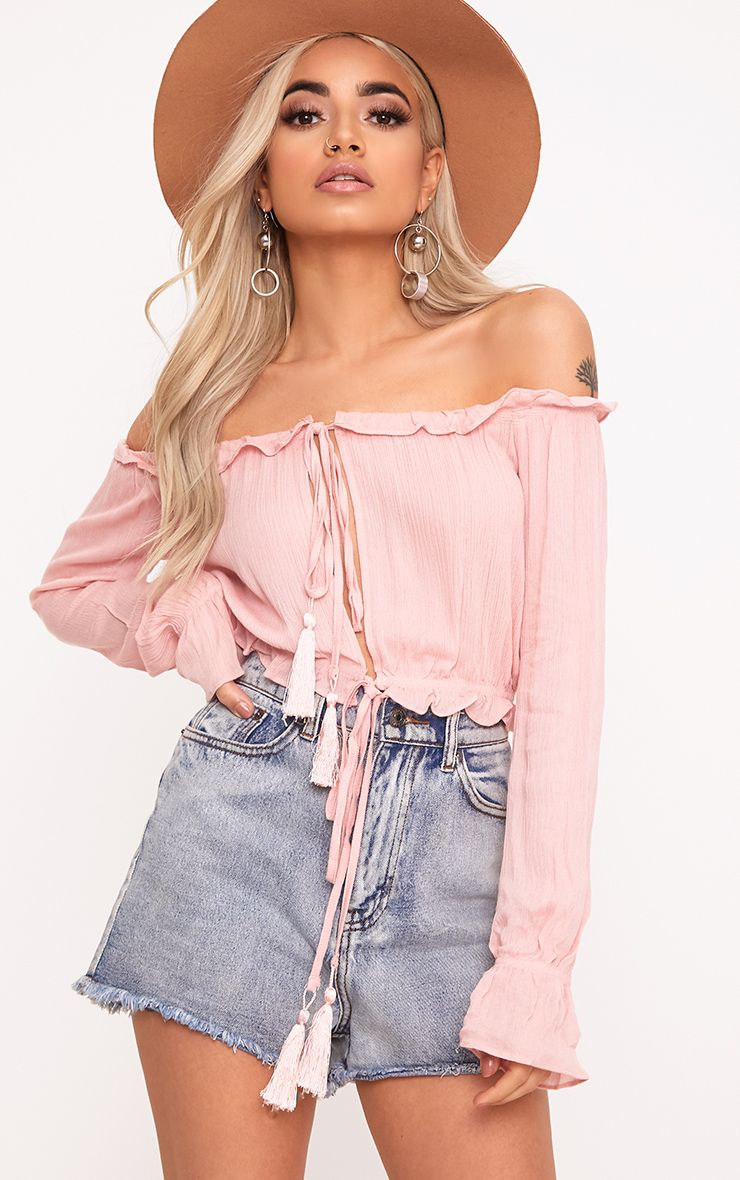 Madiison Baby Pink Bardot Double Tie Front Top