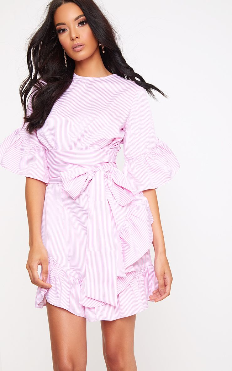 Aaliyah Pink Stripe Frill Detail Mini Dress