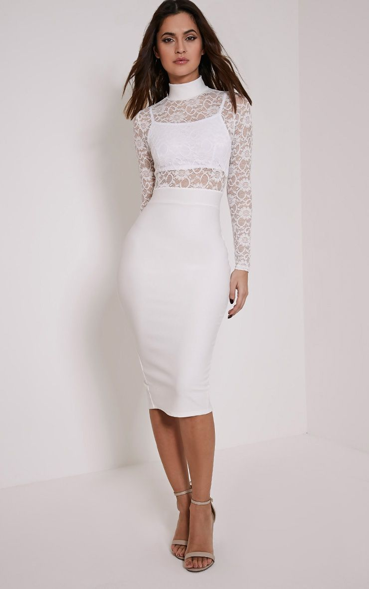 Kizzy White Lace Top Midi Dress 1