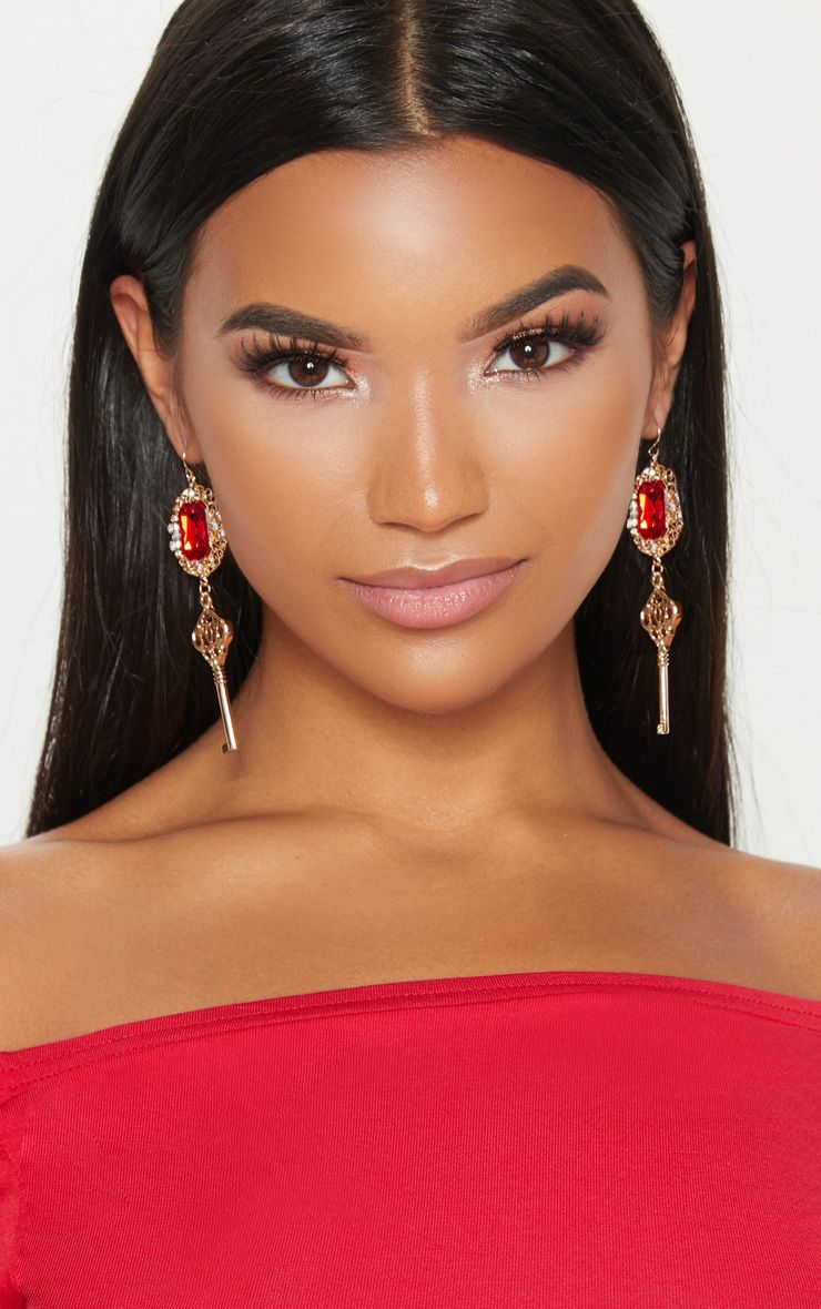 Red Gem Key Drop Earrings