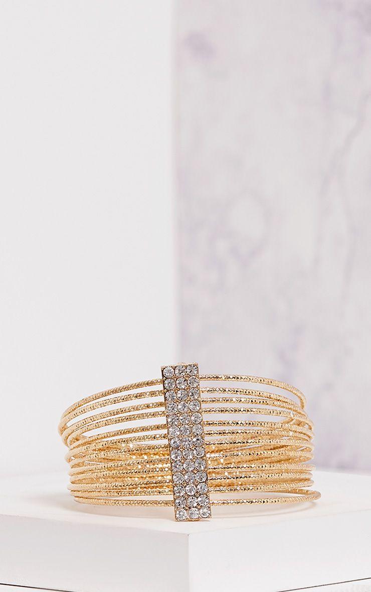Yolane Gold Multi Layer Diamante Bangle