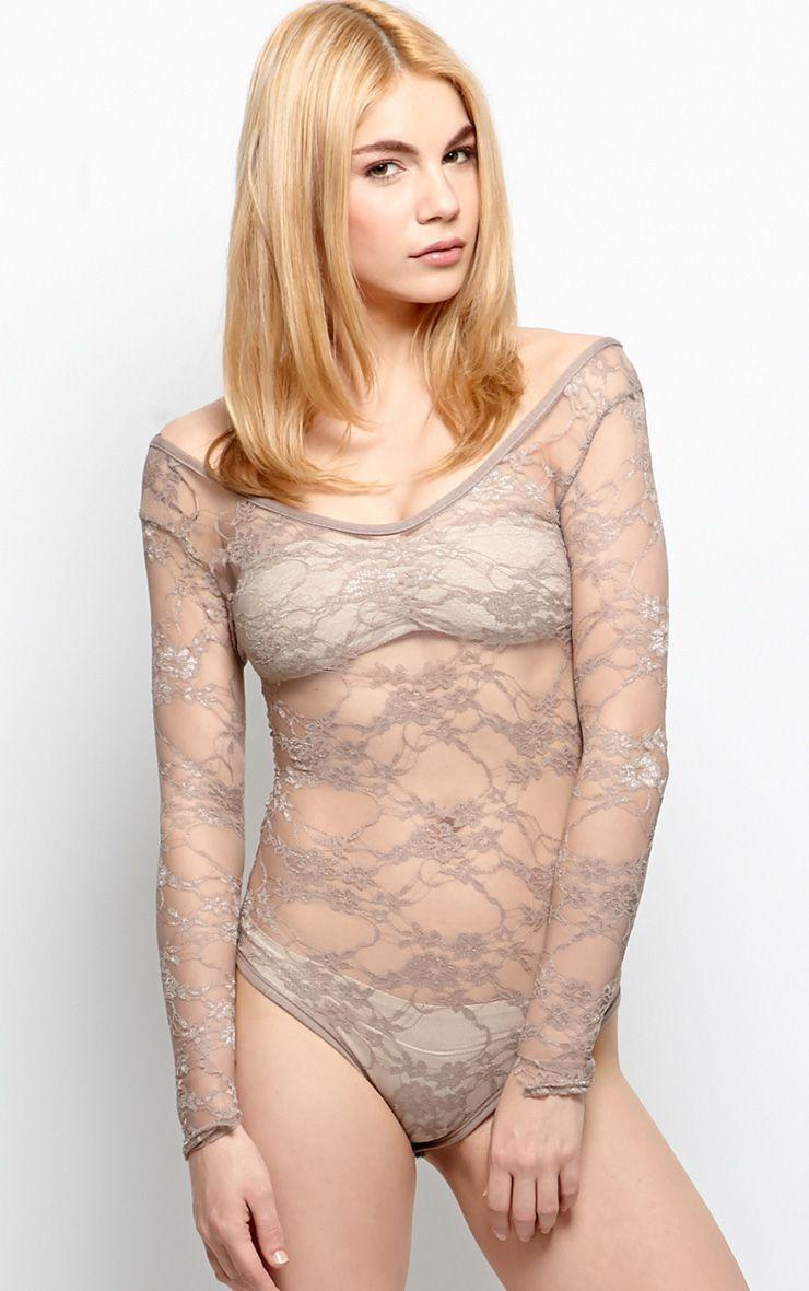 Nadiyah Mocha Lace Bodysuit  1