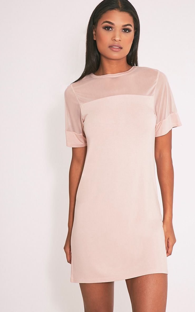 Narla Nude Mesh Insert T Shirt Dress