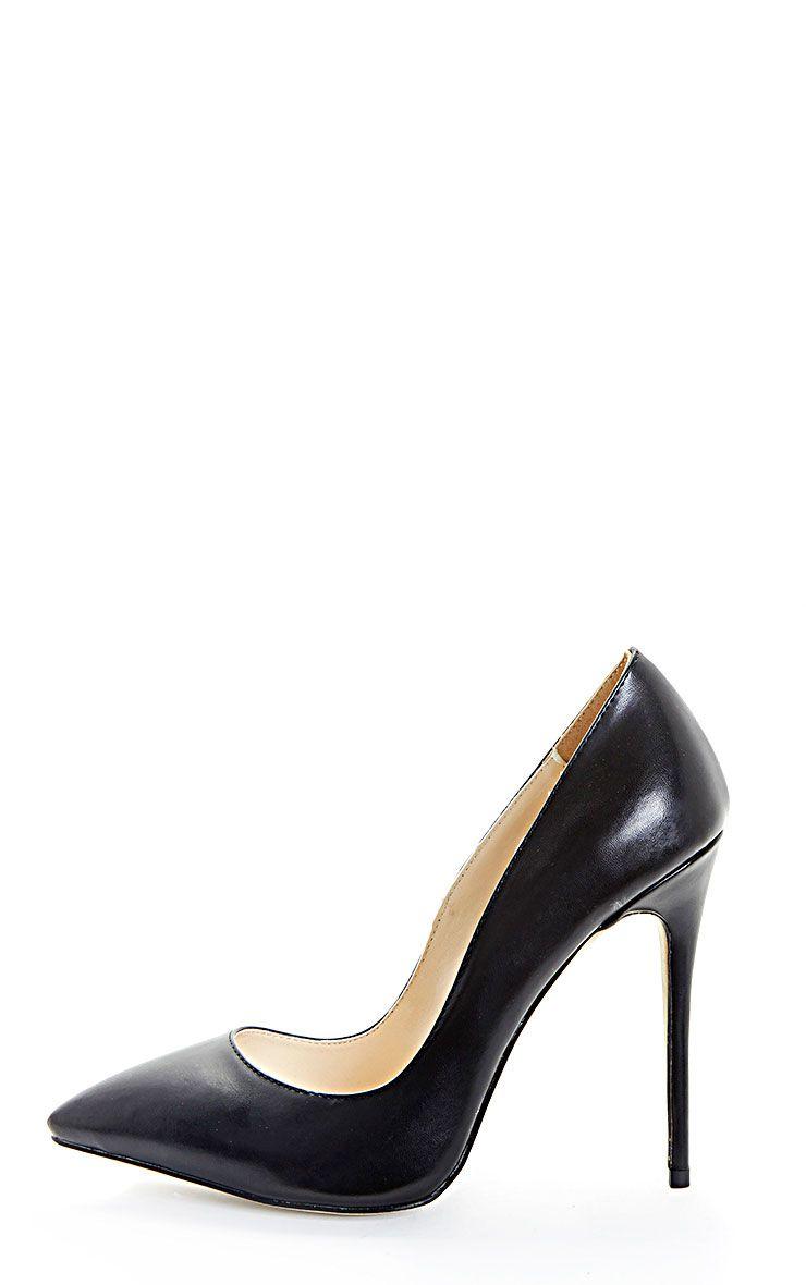 Sophie Black Faux Leather Heeled Stilettos 1