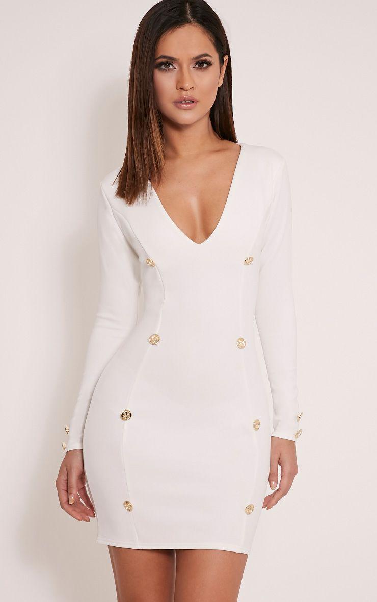 Aylee Cream Button Detail Blazer Style Bodycon Dress 1