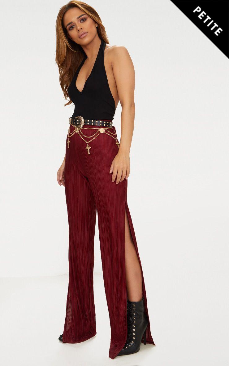 Petite Burgundy Pleated Split Wide Leg Trousers