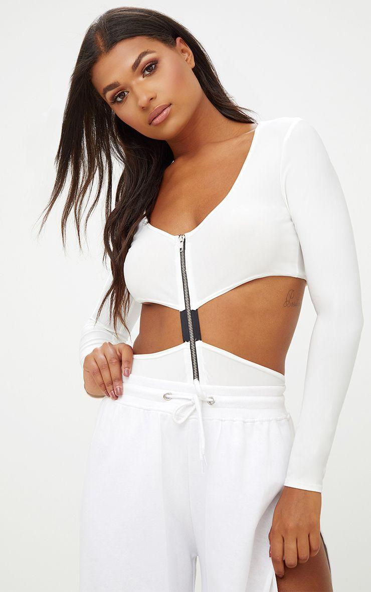 Cream Zip Front Cut Out Slinky Bodysuit