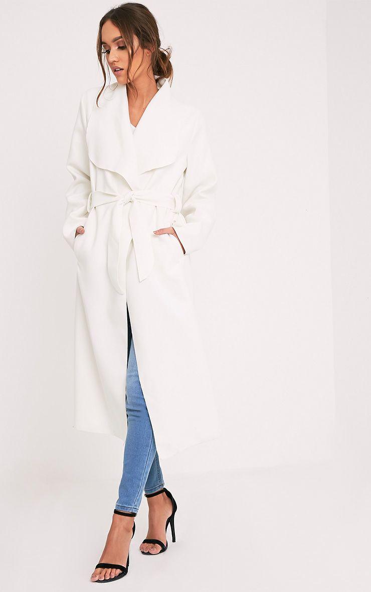 Veronica manteau effet cascade surdimensionné crème à ceinture