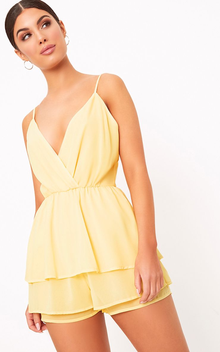 Joney Lemon Frill Layer Playsuit  1