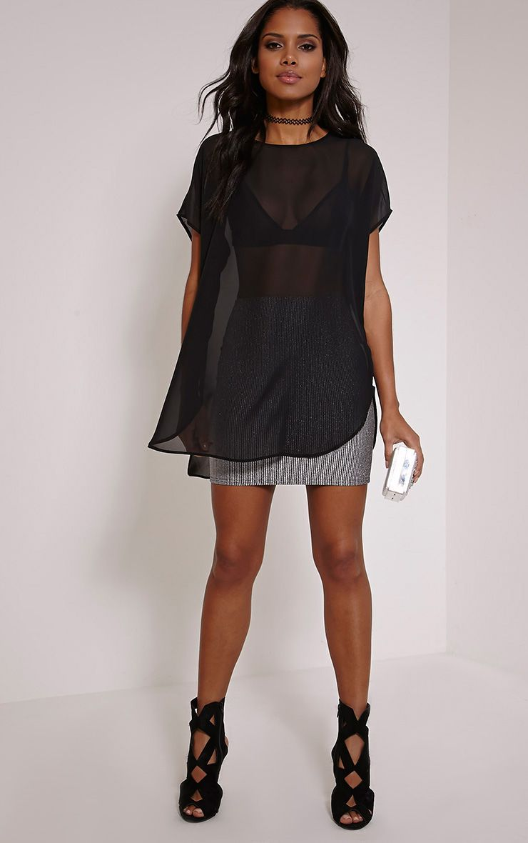 Kary Black Oversized Chiffon Tunic 1