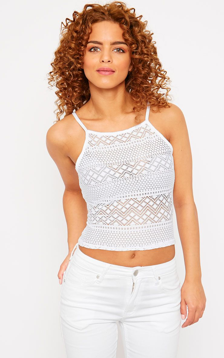 Erina White Lace Strappy Top 1