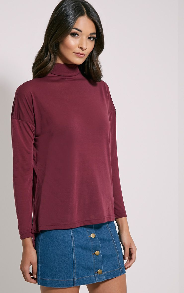 Thora Damson Roll Neck Top 1