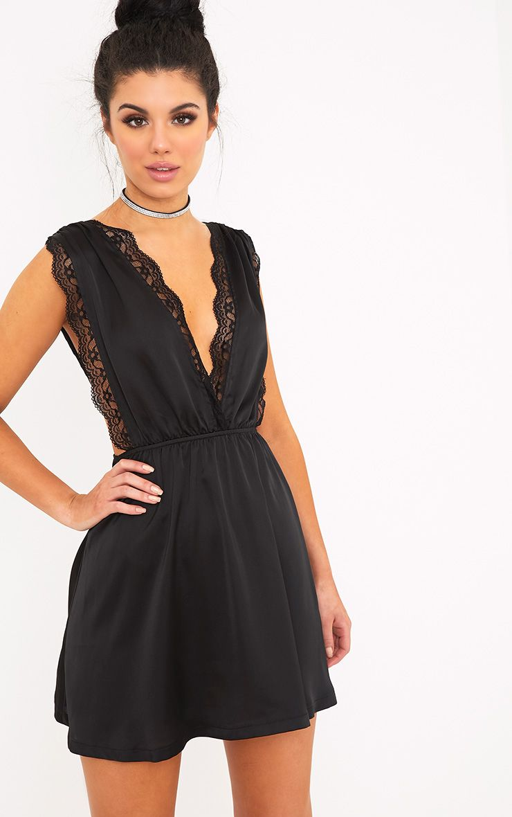 Tatiana Black Satin Lace Trim Plunge Swing Dress