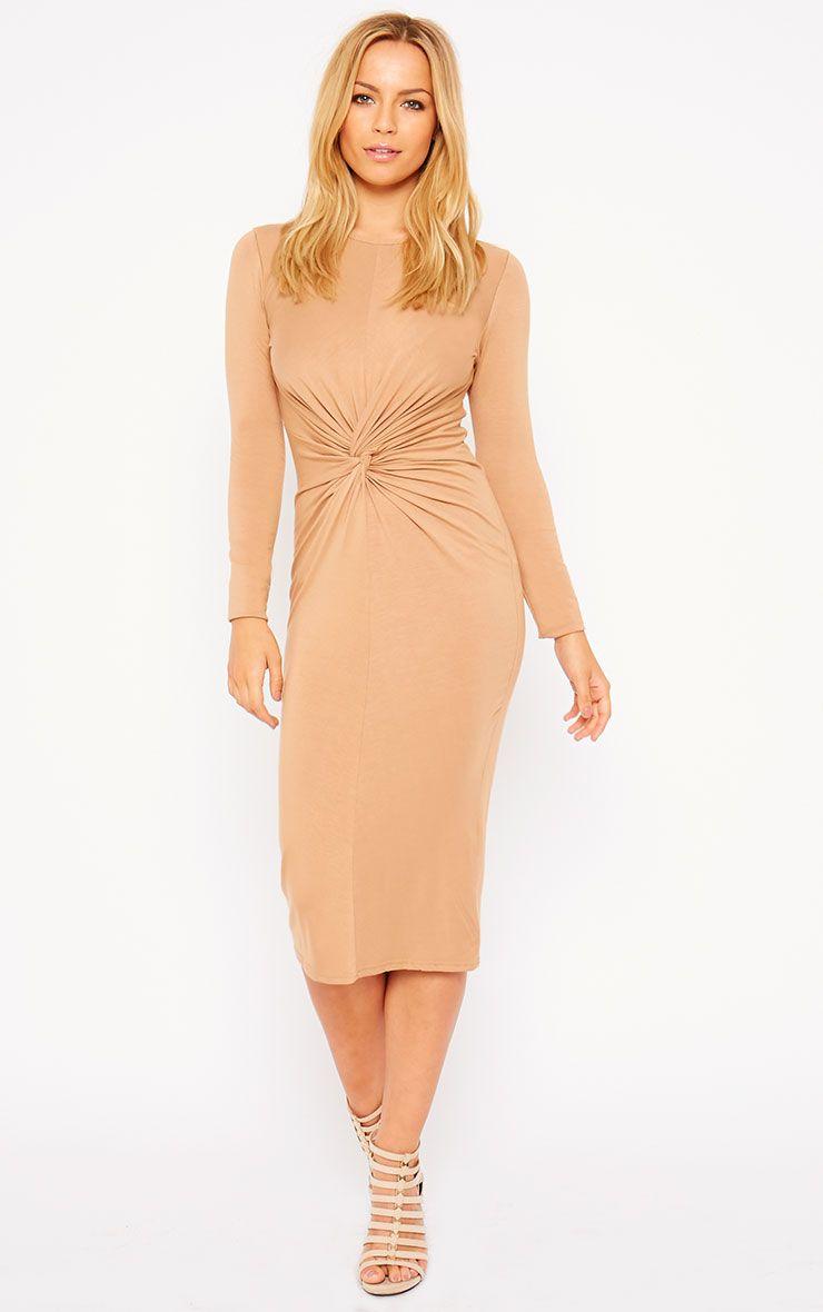 Kenna Camel Knot Front Midi Dress 1