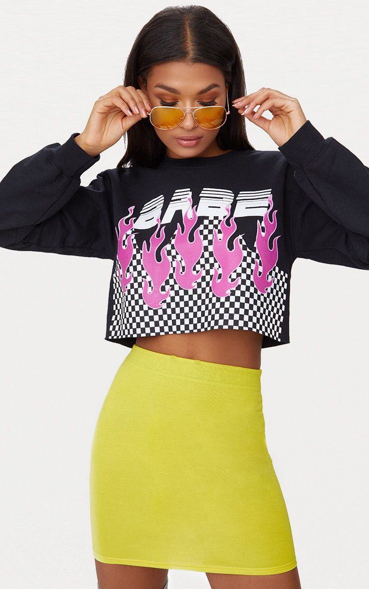 Babe Slogan Black Motocross Cropped Sweater