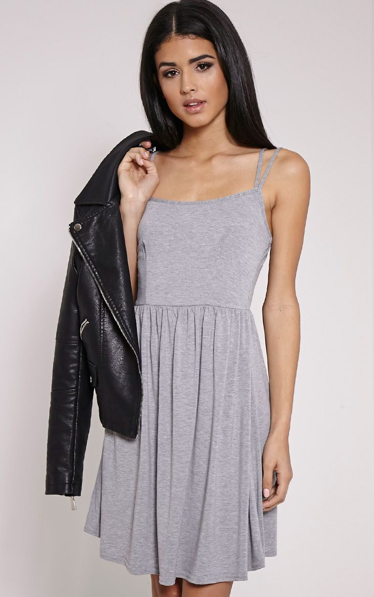 Basic Grey Cross Back Skater Dress 1