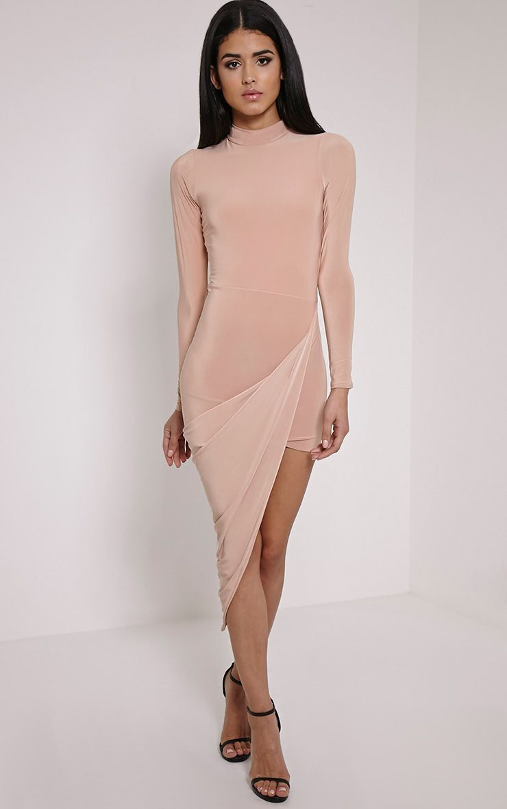 Saffy Taupe Long Sleeve Drape Dress 1