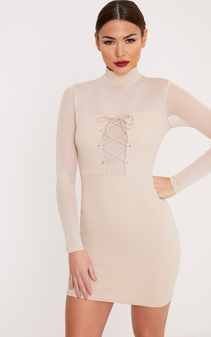 Kelissia Nude Corset Detail Mesh Bodycon Dress