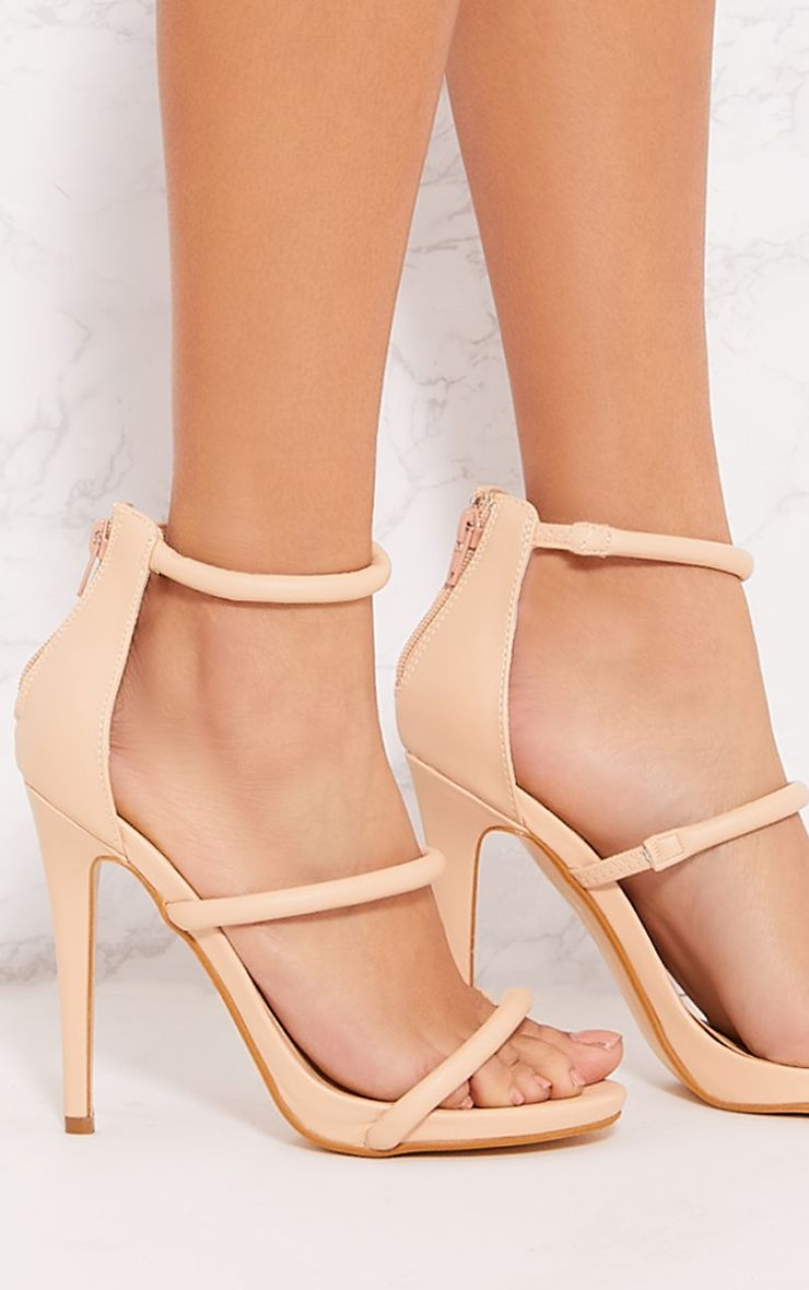 PRETTYLITTLETHING Nude Triple Strap Tube Heeled Sandal