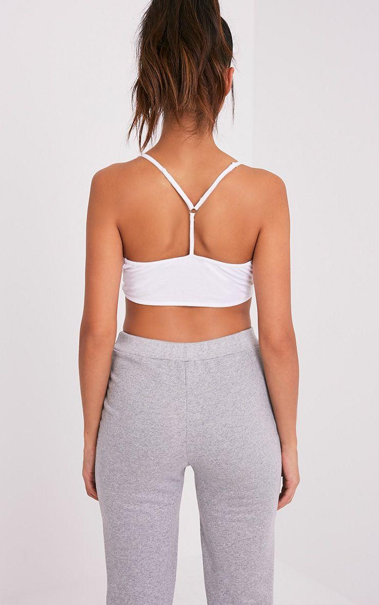 Basic brassière blanche en jersey à bretelles dorsales croisées 2