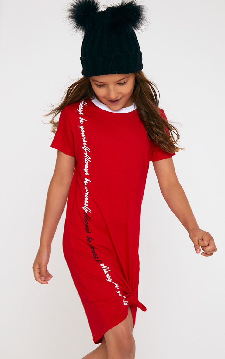 Red Printed T Shirt Dress