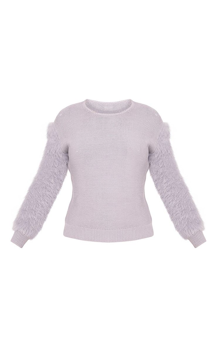 Rene Grey Fluffy Sleeve Fine Knit Jumper 3