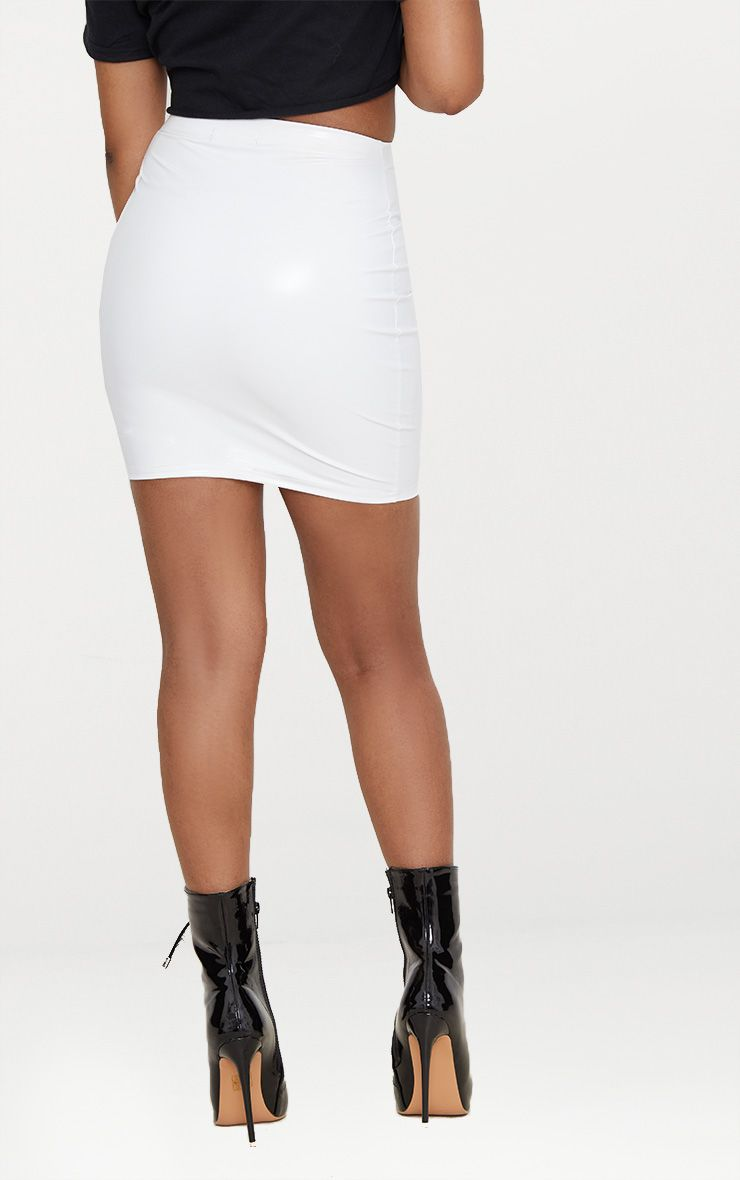 Petite White Vinyl Mini Skirt Petite Prettylittlething