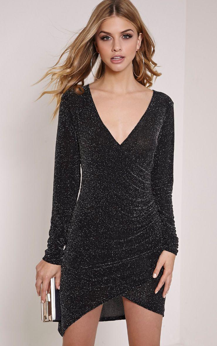 Kendi Black Glitter Lurex Wrap Mini Dress 1