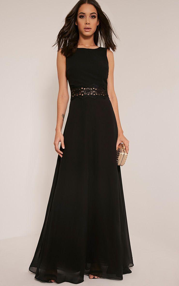 Caitlan Black Lace Insert Maxi Dress