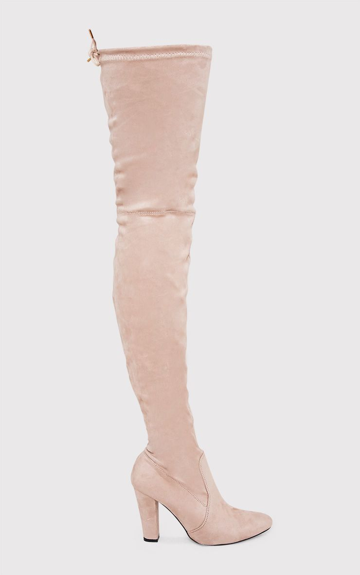 Cindy Nude Extreme Thigh High Block Heeled Boots