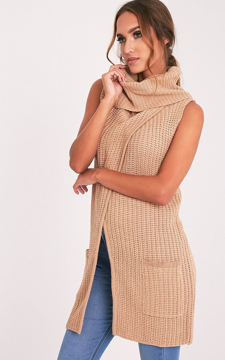 Merial Camel Sleeveless Cowl Neck Jumper 4