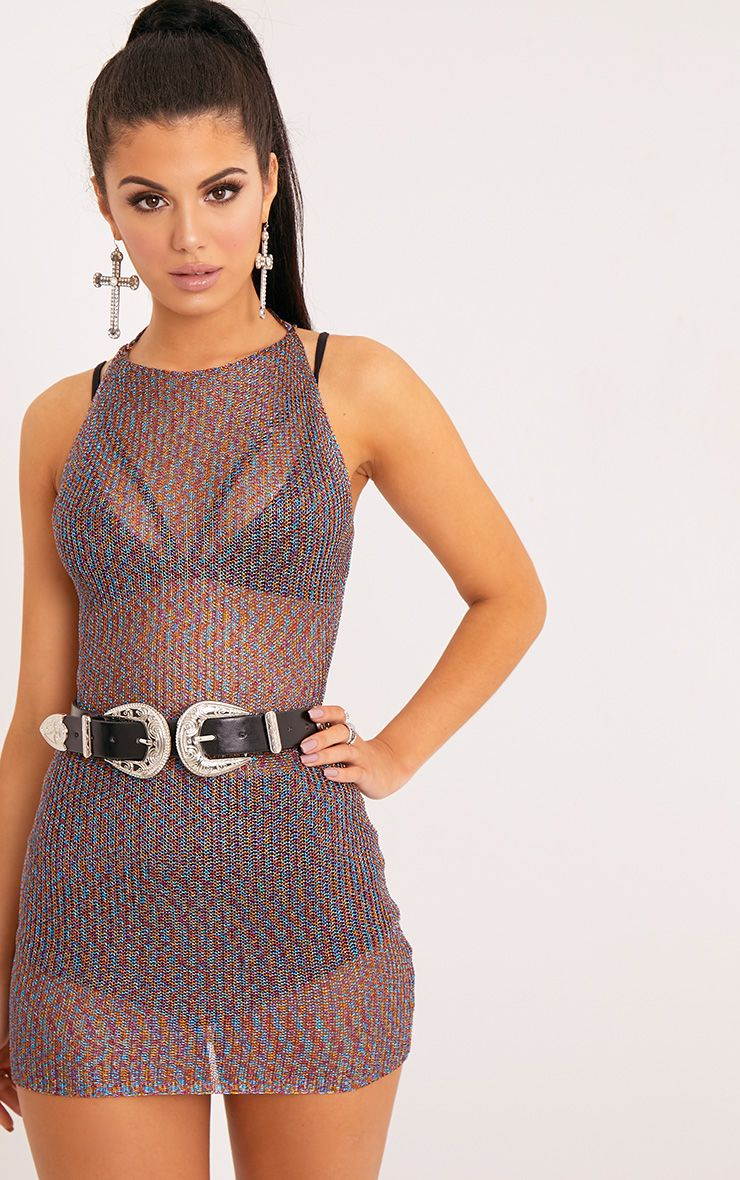 Charlay Multi Metallic Knit Halterneck Mini Dress