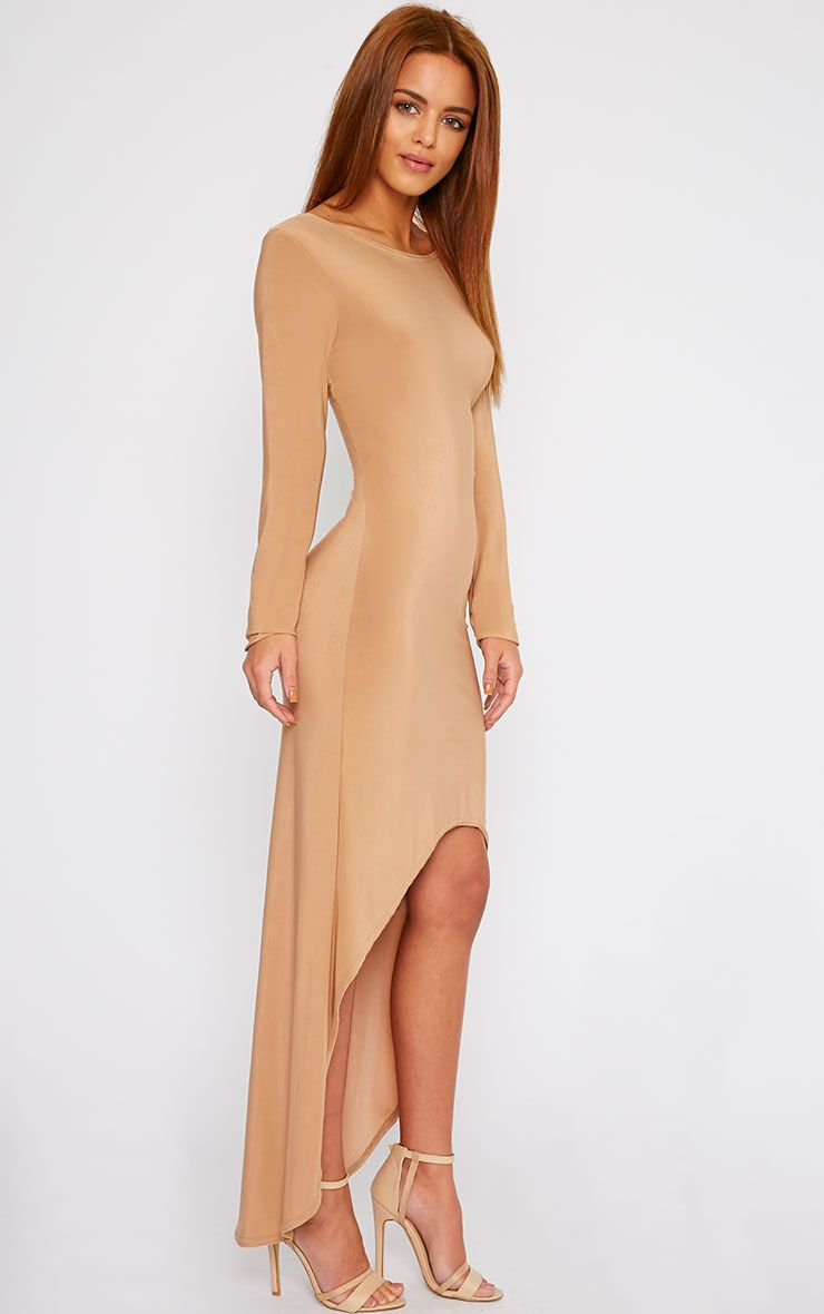 Fearne Camel Slinky Dip Hem Dress 1