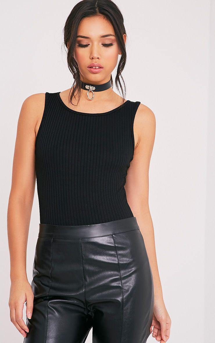 Marria Black Ribbed Bodysuit 1