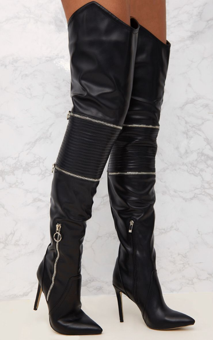 Black Thigh High Heeled Biker Boots