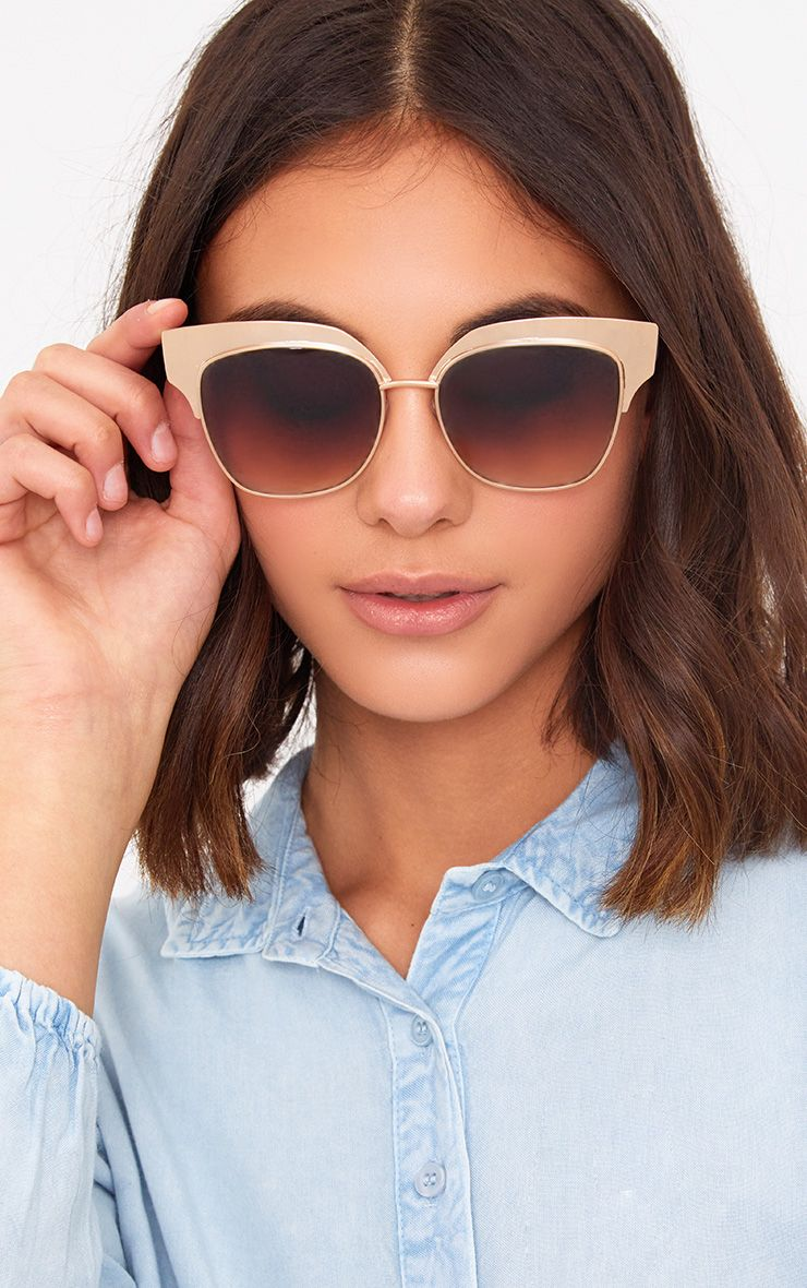 Ionela Gold Cat Eye Matte Tip Sunglasses
