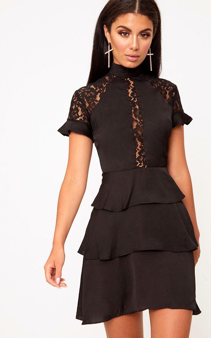 Black High Neck Ruffle Detail Bodycon Dress