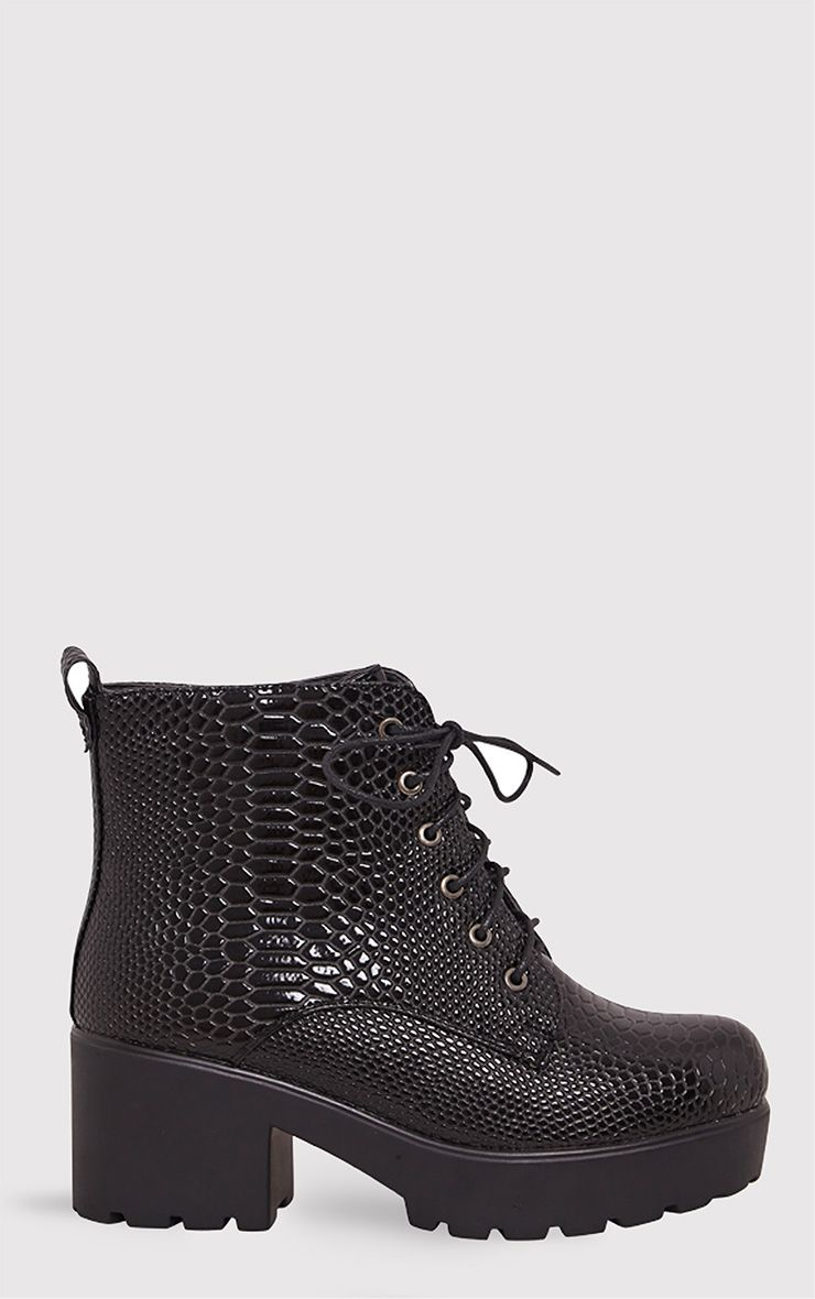 Mahina Black Patent Snake Effect Ankle Boots 1