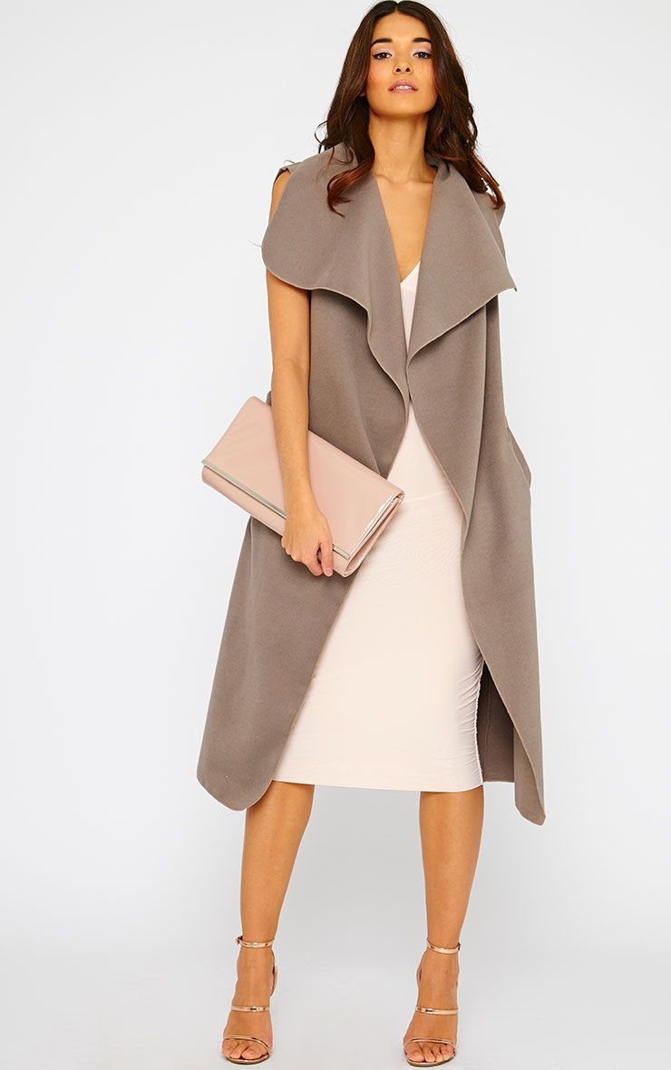 Valerie Mocha Sleeveless Waterfall Coat 1