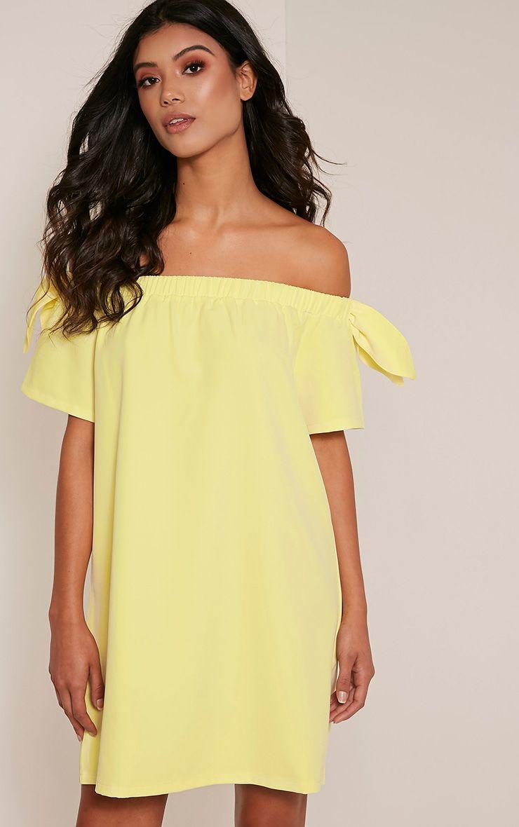 Cayla Lemon Crepe Bardot Swing Dress 1