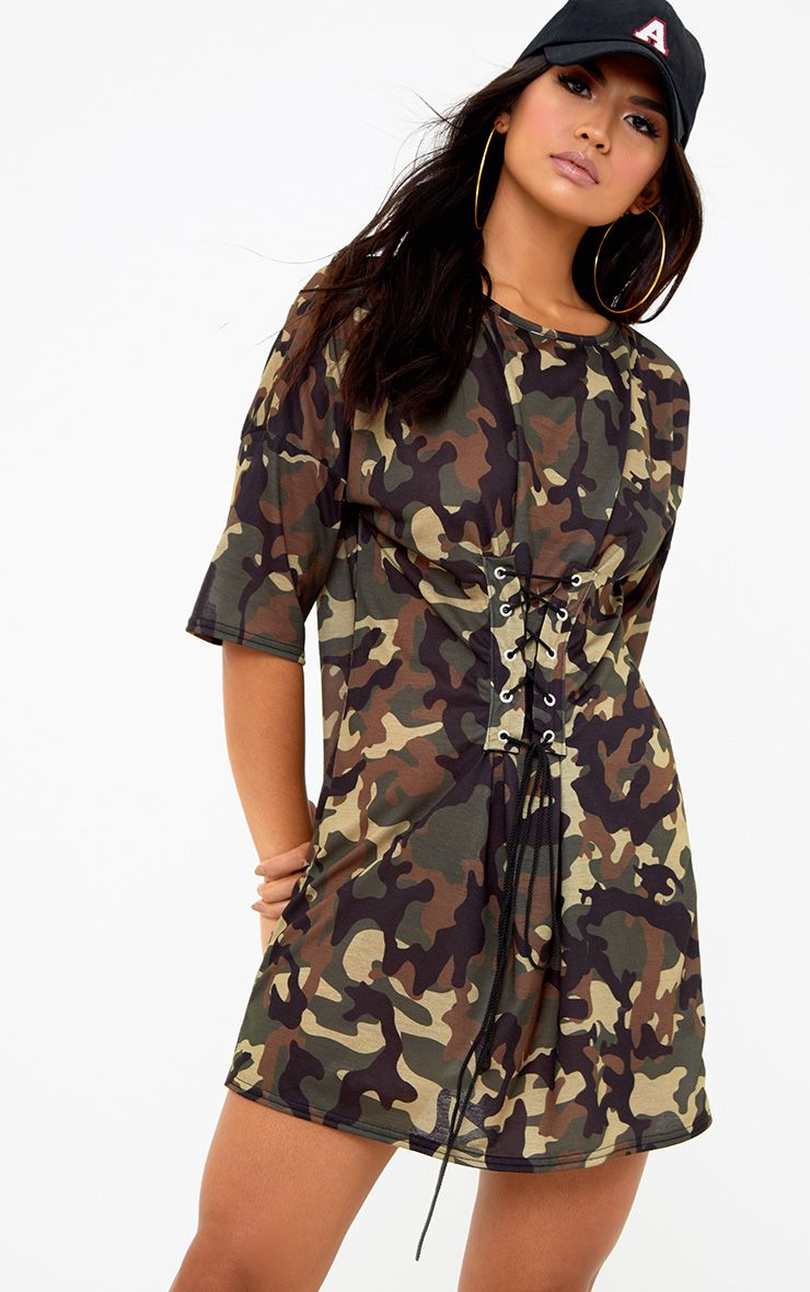 Khaki Camouflage Corset T Shirt Dress