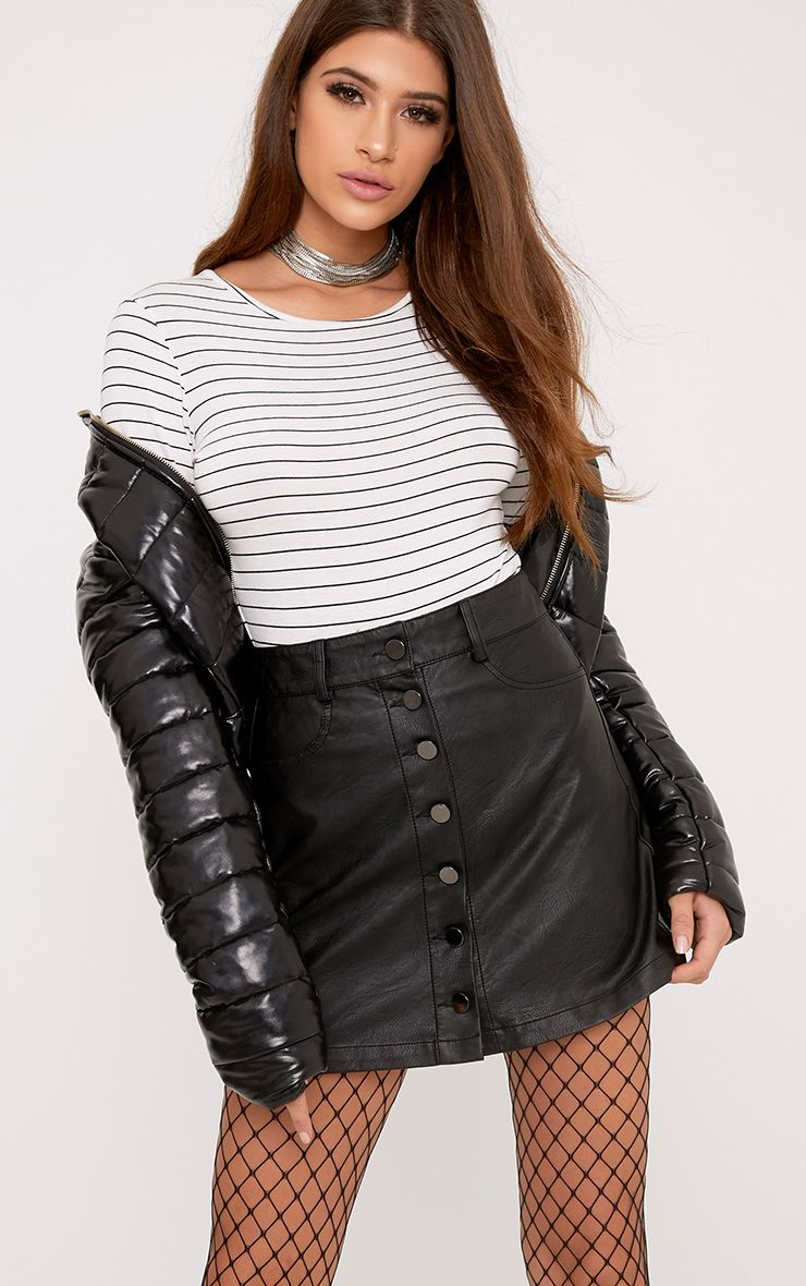 Ayanna Black Faux Leather Button A-Line Mini Skirt 1