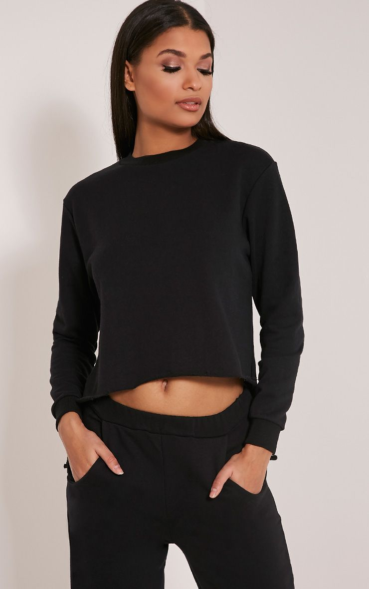 Ellia Black Split Side Sweater