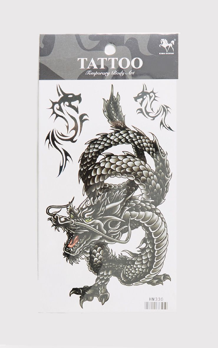 Mixed Dragons Black Temporary Tattoo Kit