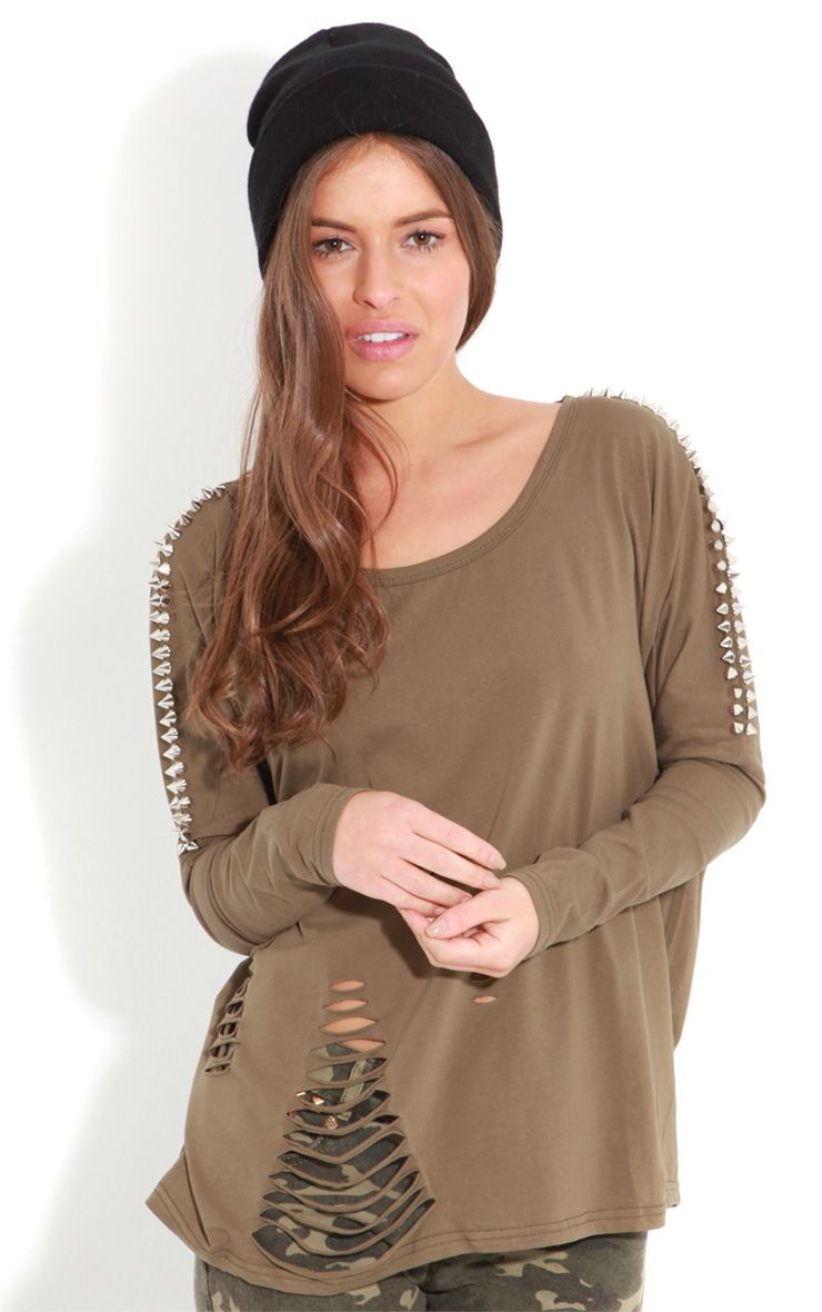 Maura Khaki Tee With Spike And Slit Detail 1