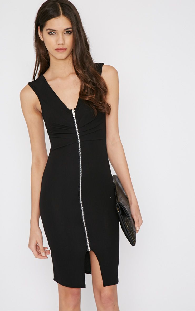 Neveah Black Zip Front Dress 1
